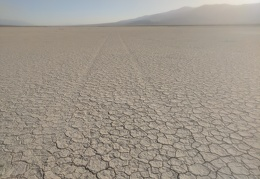 Old tire tracks on the Panamint Dry Lake bed are slowly being erased