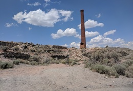 The old smelter at Belmont, Nevada still stands tall